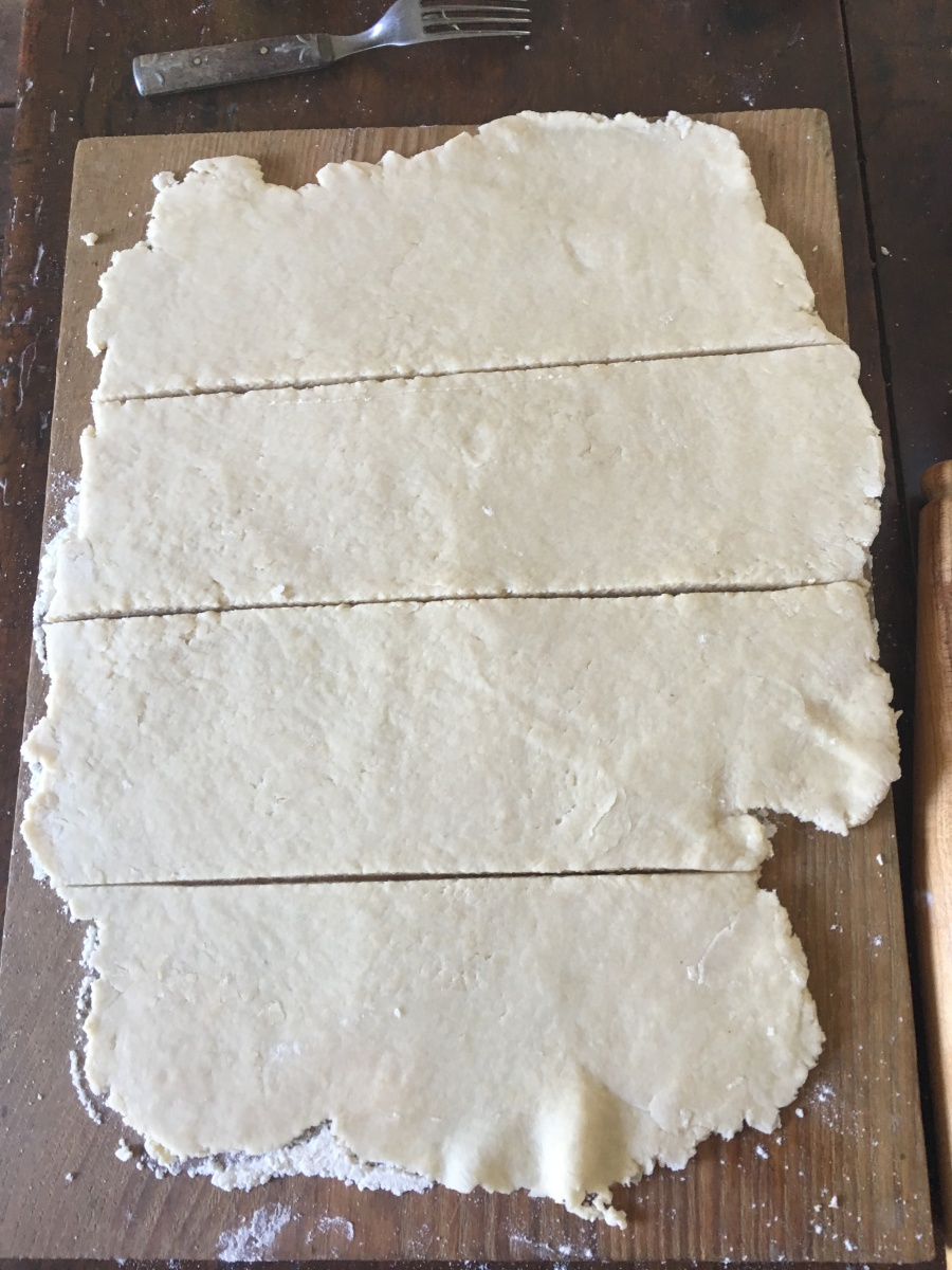 Cut dough in fourths