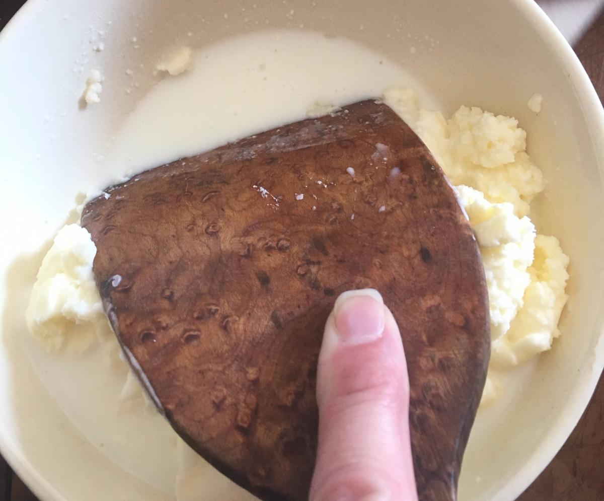 Straining butter
