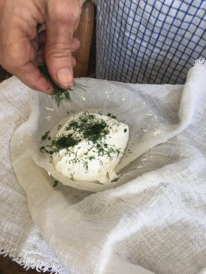 Add herbs to cheese