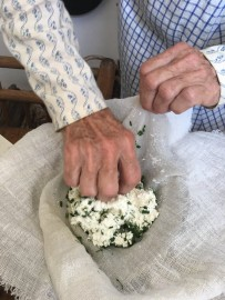 Mix herbs and salt into cheese