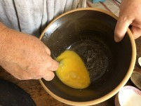 Blend eggs and butter