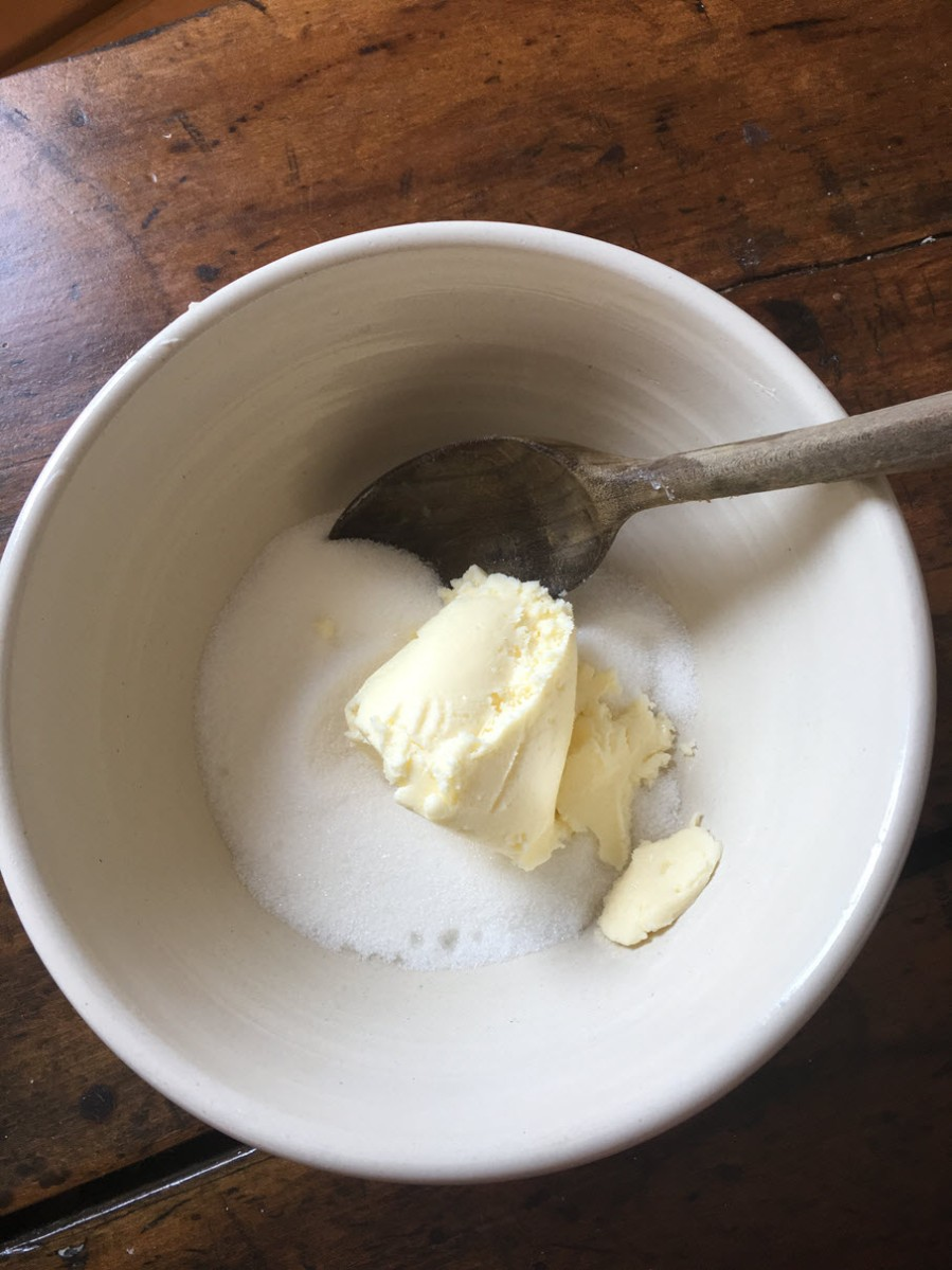 Mix butter and sugar