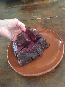 Cut venison into cubes