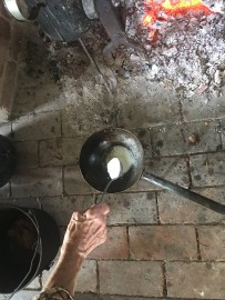 Add flour to butter