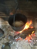 Boil chicken over hearth