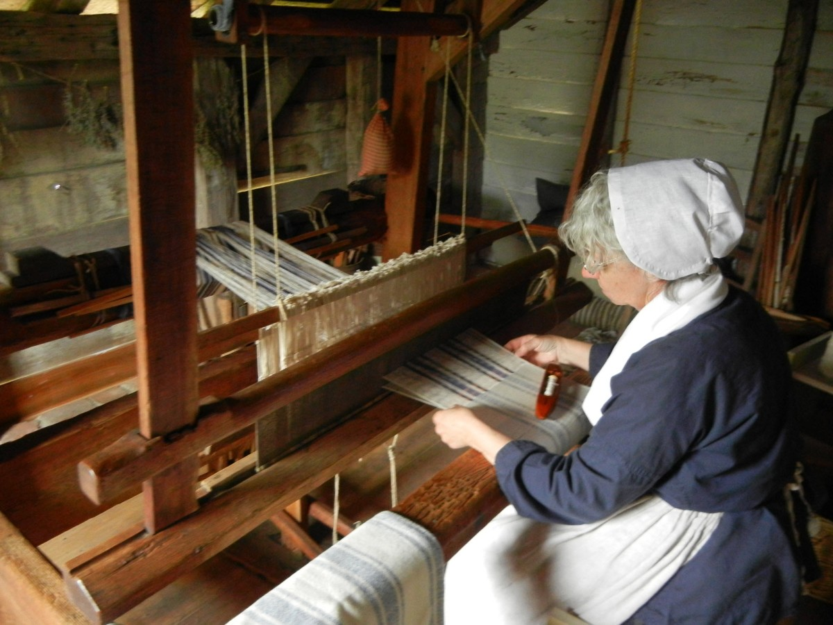 Peggy on the loom