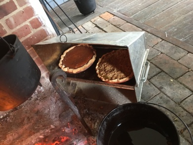 Pies cooking in the Baker